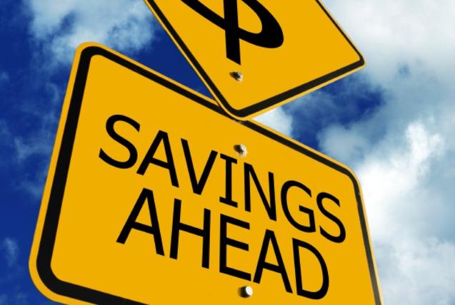sign saying Savings Ahead