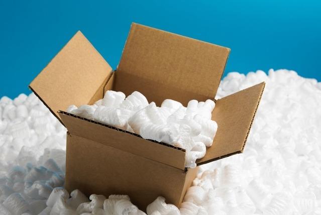 box and Styrofoam peanuts