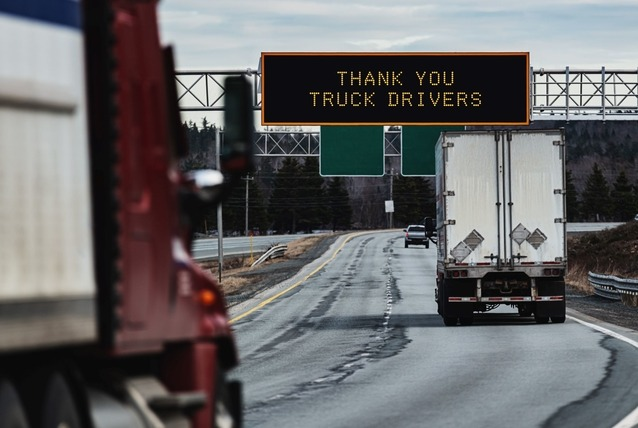 road sign saying thank you truck drivers