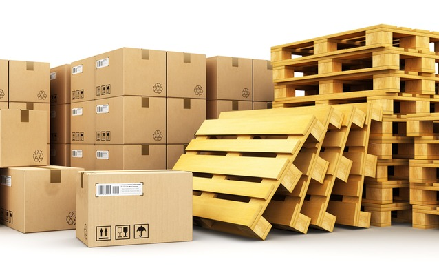 shipping boxes and pallets