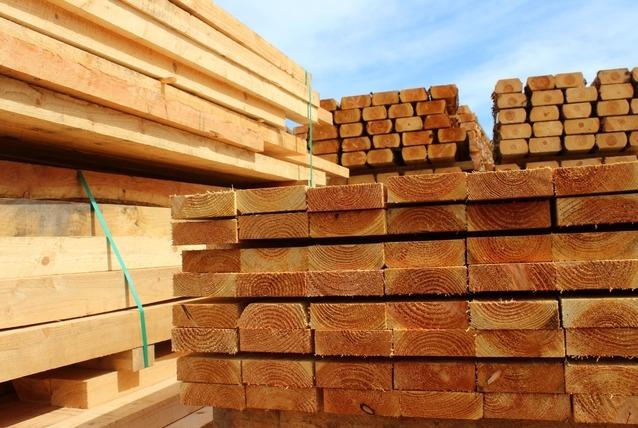 stacks of raw lumber